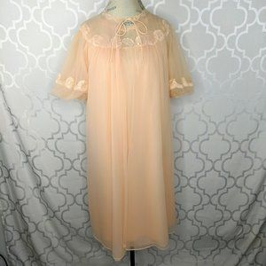 Vtg Roos Atkins Peach Chiffon Robe & Nightgown